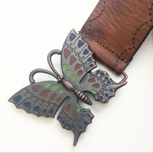 Anthropologie Brown Leather Butterfly Buckle Belt